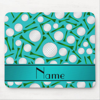 Personalized name turquoise golf balls tees mouse pad