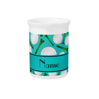Personalized name turquoise golf balls tees drink pitcher