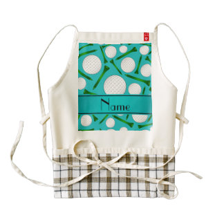 Personalized name turquoise golf balls tees zazzle HEART apron