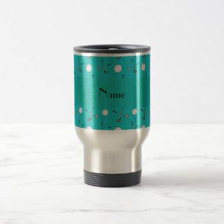 Personalized name turquoise golf balls travel mug