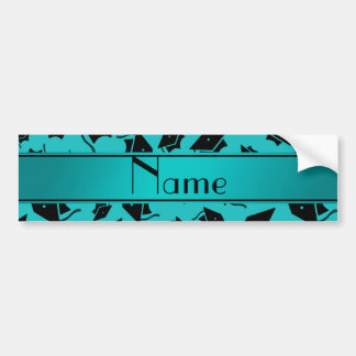 Personalized name turquoise graduation cap bumper stickers