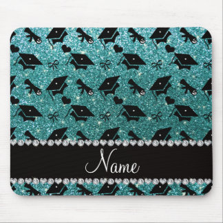 Personalized name turquoise graduation hearts mouse pad