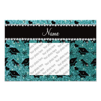 Personalized name turquoise graduation hearts photo print