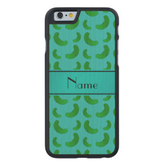 Personalized name turquoise green pickles carved® maple iPhone 6 slim case