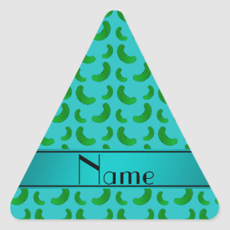 Personalized name turquoise green pickles triangle stickers