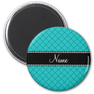 Personalized name turquoise grid pattern refrigerator magnets