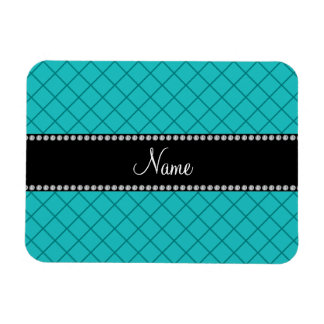 Personalized name turquoise grid pattern vinyl magnet