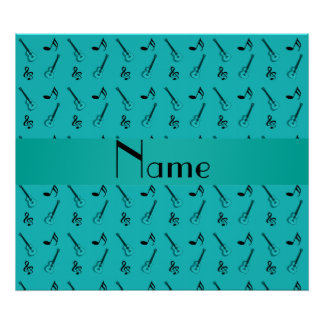 Personalized name turquoise guitar pattern print