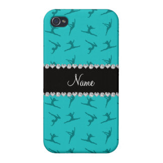 Personalized name turquoise gymnastics pattern cover for iPhone 4