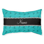 Personalized name turquoise gymnastics pattern small dog bed