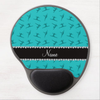 Personalized name turquoise gymnastics pattern gel mouse mats