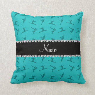Personalized name turquoise gymnastics pattern pillow