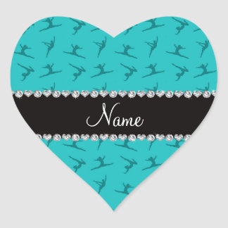 Personalized name turquoise gymnastics pattern heart sticker