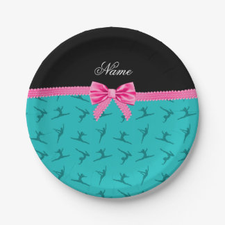 Personalized name turquoise gymnastics pink bow 7 inch paper plate