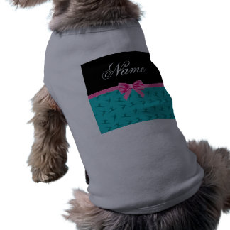 Personalized name turquoise gymnastics pink bow dog clothes