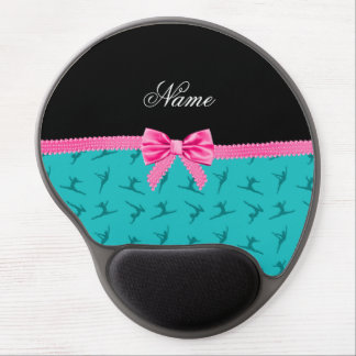 Personalized name turquoise gymnastics pink bow gel mouse pad