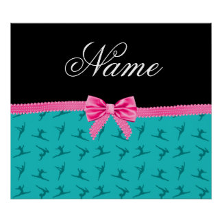 Personalized name turquoise gymnastics pink bow poster