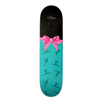 Personalized name turquoise gymnastics pink bow skate board