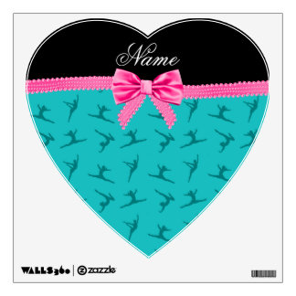 Personalized name turquoise gymnastics pink bow wall skins