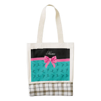 Personalized name turquoise gymnastics pink bow zazzle HEART tote bag