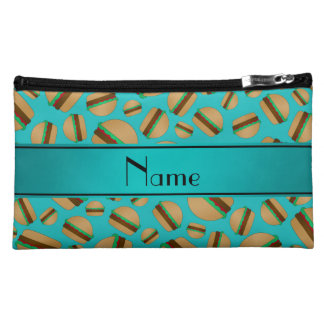 Personalized name turquoise hamburger pattern makeup bag