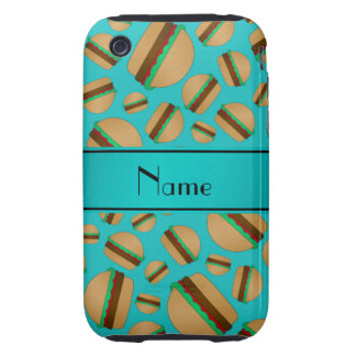 Personalized name turquoise hamburger pattern iPhone 3 tough cover