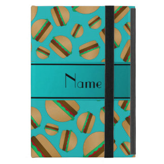 Personalized name turquoise hamburger pattern iPad mini case