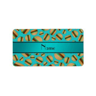 Personalized name turquoise hamburger pattern address label