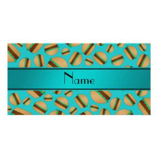 Personalized name turquoise hamburger pattern photo greeting card