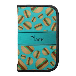 Personalized name turquoise hamburger pattern organizer