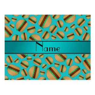 Personalized name turquoise hamburger pattern postcards