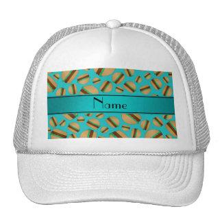Personalized name turquoise hamburger pattern trucker hat