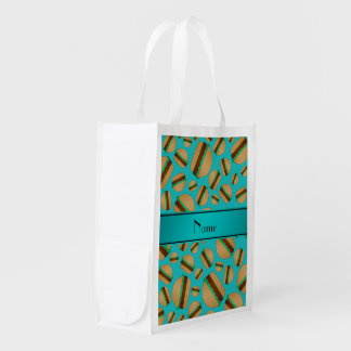 Personalized name turquoise hamburger pattern grocery bags
