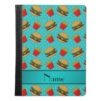 Personalized name turquoise hamburgers fries dots