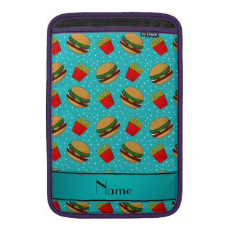 Personalized name turquoise hamburgers fries dots MacBook sleeve