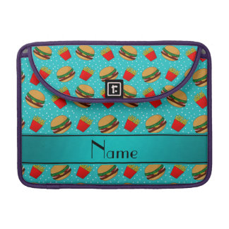 Personalized name turquoise hamburgers fries dots MacBook pro sleeves