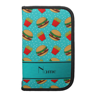 Personalized name turquoise hamburgers fries dots organizers