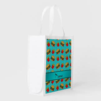 Personalized name turquoise hamburgers fries dots grocery bags