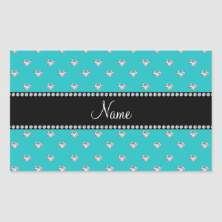 Personalized name turquoise heart diamonds rectangle sticker