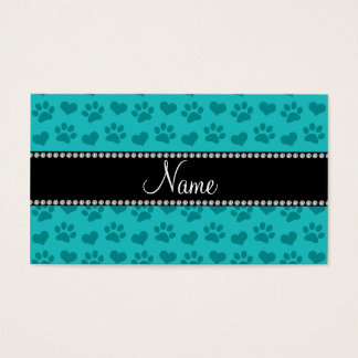 Personalized name turquoise hearts and paw prints business card