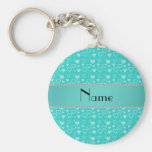 Personalized name turquoise hearts keychains