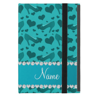 Personalized name turquoise hearts shoes bows case for iPad mini