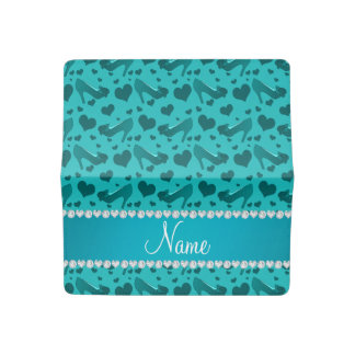 Personalized name turquoise hearts shoes bows checkbook cover
