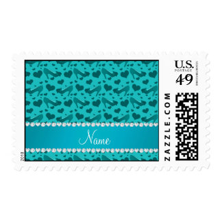 Personalized name turquoise hearts shoes bows postage
