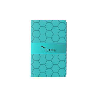 Personalized name turquoise honeycomb pocket moleskine notebook cover with notebook