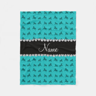 Personalized name turquoise horse pattern fleece blanket