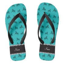 Personalized name turquoise horse pattern flip flops