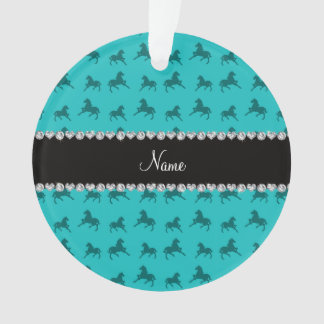 Personalized name turquoise horse pattern ornament