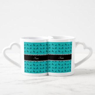 Personalized name turquoise horse pattern couple mugs