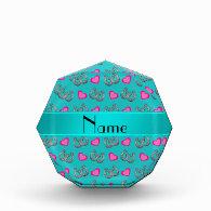 Personalized name turquoise horseshoes hearts acrylic award